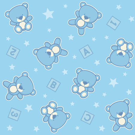 Cute teddy bear seamless background with stars and alphabetical cubes.