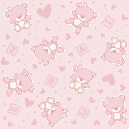 tile pattern: Cute teddy bear seamless background with hearts and alphabetical cubes.