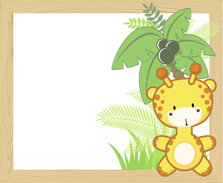 Cute baby giraffe with tropical leaves and palm tree on empty wood frame.