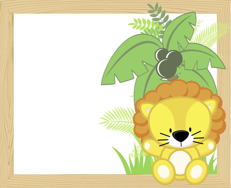 Cute baby lion with tropical leaves and palm tree on empty wood frame