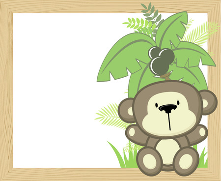 bebe a bordo: Cute baby monkey with tropical leaves and palm tree on empty wood frame. Vectores