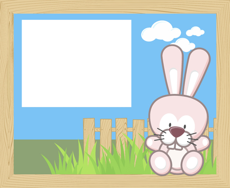 Wood frame with cute baby rabbit and blank board. Illustration