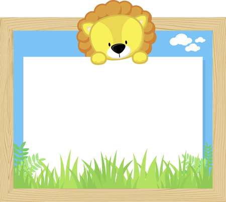 Wood frame with cute baby lion and blank board. Illustration