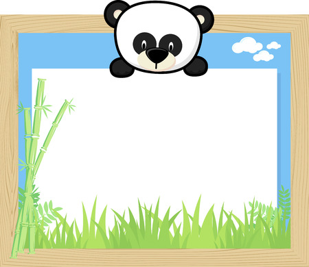 Wood frame with cute baby panda and blank board.