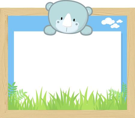Wood frame with cute baby rhino and blank board.