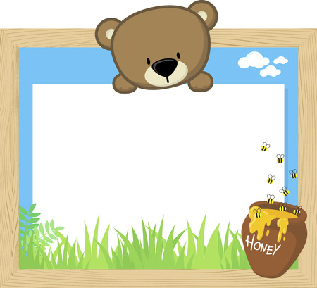 Wood frame with cute baby bear and blank board.