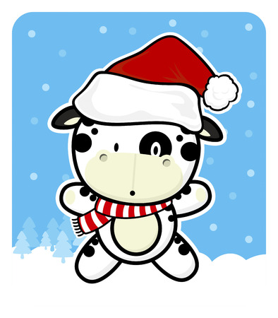cute baby cow with santa claus red hat on winter background