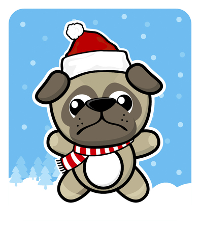 cute baby pug dog with santa claus red hat on winter background Çizim