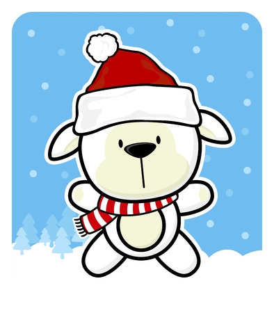 cute baby sheep with santa claus red hat on winter background Çizim