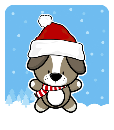 cute baby dog with santa claus red hat on winter background