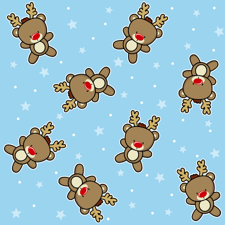 A christmas theme seamless pattern with cute baby reindeer with snow and stars on blue background, design for children