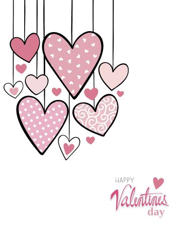 마음에 매달려있는 발렌타인 카드 디자인 일러스트
