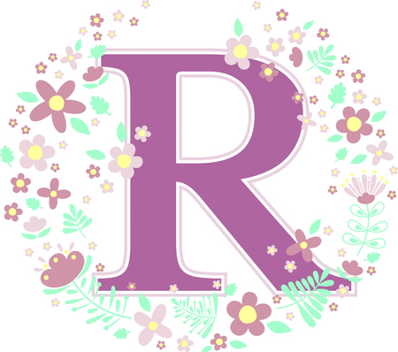 initial letter r with decorative flowers and design elements isolated on white background. can be used for baby name, nursery decoration, spring themes or wedding invitation. Illustration