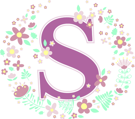 initial letter s with decorative flowers and design elements isolated on white background. can be used for baby name, nursery decoration, spring themes or wedding invitation. Çizim