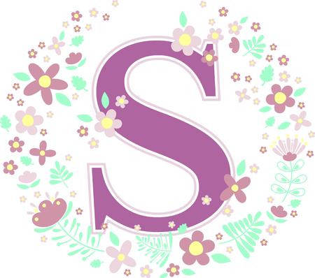 lettera iniziale s con fiori decorativi ed elementi di design isolati su sfondo bianco. può essere utilizzato per nome del bambino, decorazione della scuola materna, temi primaverili o invito a nozze. Vettoriali