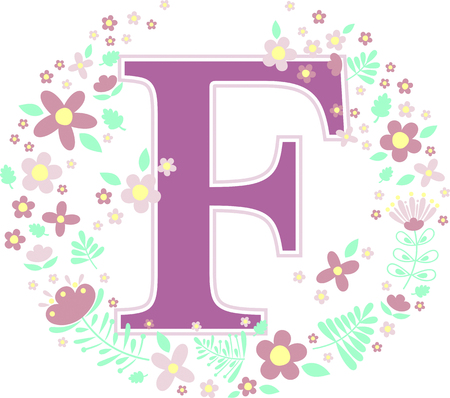 initial letter f with decorative flowers and design elements isolated on white background. can be used for baby name, nursery decoration, spring themes or wedding invitation.