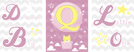 posters set of dream big little one slogan with baby cat and balloon with initial q. can be used for nursery art decor, newborn baby decoration and baby shower
