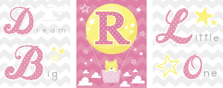 posters set of dream big little one slogan with baby cat and balloon with initial r. can be used for nursery art decor, newborn baby decoration and baby shower