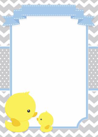 invitation bébé avec mignon lapin maman et le canard de bébé sur le modèle de variation et pois fond