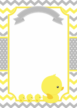 Baby shower invitation with cute duck mom and baby ducks on chevron pattern and polka dots background Çizim