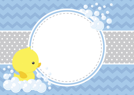 Cute baby shower card with little baby rubber duck and bubbles on chevron pattern and polka dots background