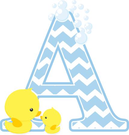 白い背景に分離された泡と小さな赤ちゃんのゴムアヒルと初期A。