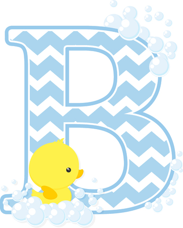 Initial B with bubbles and little baby rubber duck isolated on white backdrop.