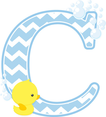 Initial C with bubbles and little baby rubber duck isolated on white backdrop.