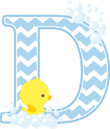 Initial D with bubbles and little baby rubber duck isolated on white backdrop.
