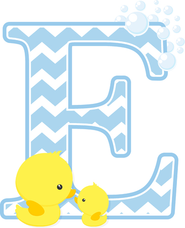 Eerste E met bubbels en kleine baby rubberen eend geïsoleerd op een witte achtergrond.