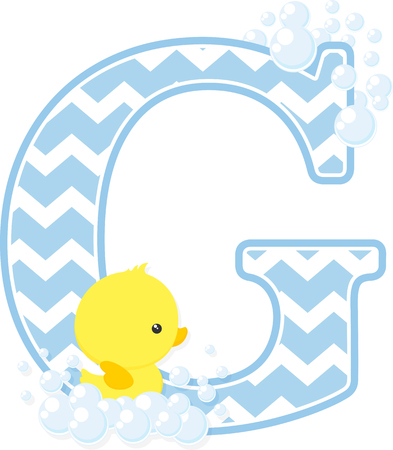 initial g with bubbles and little baby rubber duck isolated on white background.