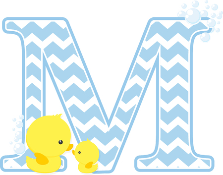initial m with bubbles and little baby rubber duck isolated on white background.