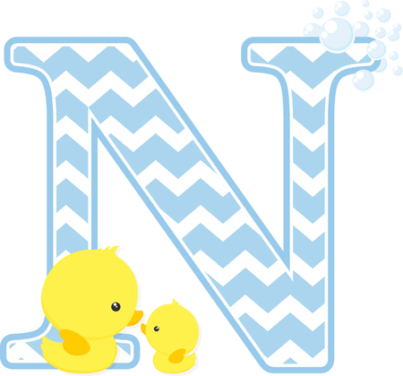initial n with bubbles and little baby rubber duck isolated on white background.