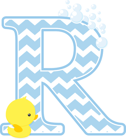 Initial R with bubbles and little baby rubber duck isolated on white backdrop. Vectores