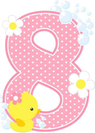 Dotted pink number 8 with bubbles, flowers and cute rubber duck isolated on white background
