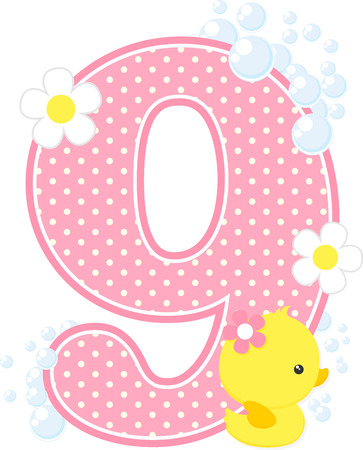 Dotted pink number 9 with bubbles, flowers and cute rubber duck isolated on white background