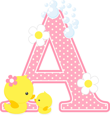 Pink dotted letter A initial with flowers and bubbles design Vectores