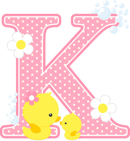 Pink dotted letter K initial with flowers and bubbles design