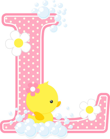 Pink dotted letter L initial with flowers and bubbles design