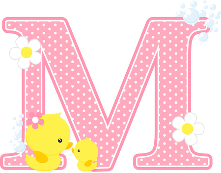 Pink dotted letter M initial with flowers and bubbles design Çizim