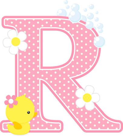 Pink dotted letter R initial with bubbles and flowers