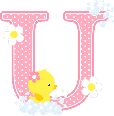 Pink dotted letter U initial with bubbles and flowers