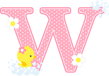 Pink dotted letter W initial with bubbles and flowers Ilustrace