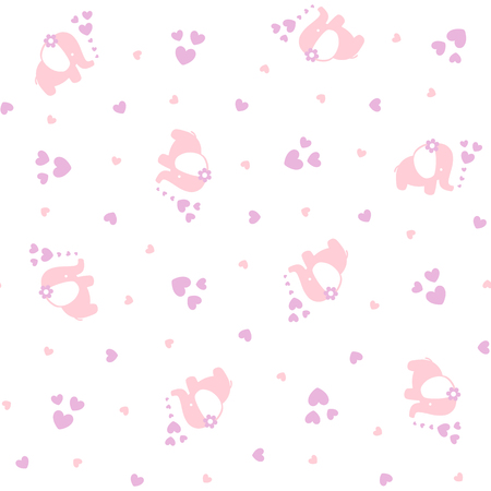 cute baby elephants seamless pattern with hearts on white background, design for baby girl