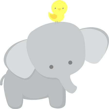 cute elephant and little bird isolated on white background. flat design for baby and children