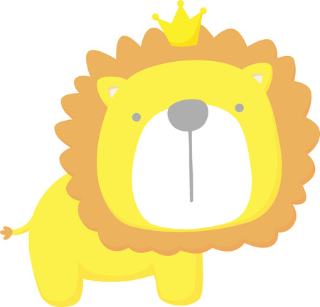 cute baby lion king isolated on white background. flat design for baby and children Çizim