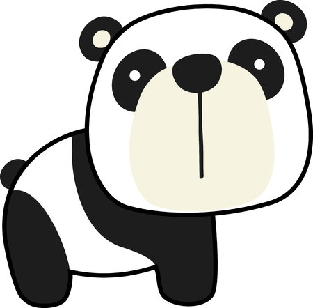 cute little panda bear isolated on white background. flat design for baby and children Çizim