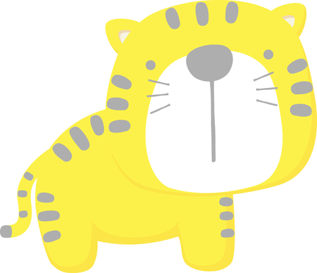 cute baby tiger isolated on white background. flat design for baby and children