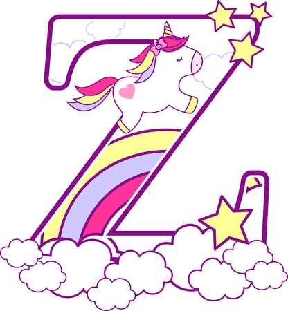 Initial z with cute unicorn and rainbow. can be used for baby birth announcements, nursery decoration, party theme or birthday invitation. Design for baby and children Vettoriali