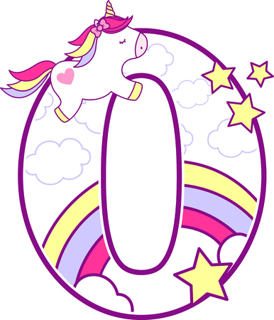 Number 0 with cute unicorn and rainbow. can be used for baby birth announcements, nursery decoration, party theme or birthday invitation. Design for baby and children Illusztráció